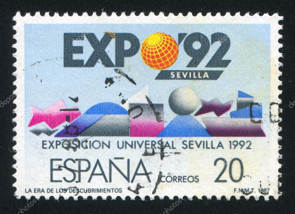 SPAIN - CIRCA 1987: stamp printed by Spain, shows EXPO Emblem, Sevilla, circa 1987  Stock Photo #13705559