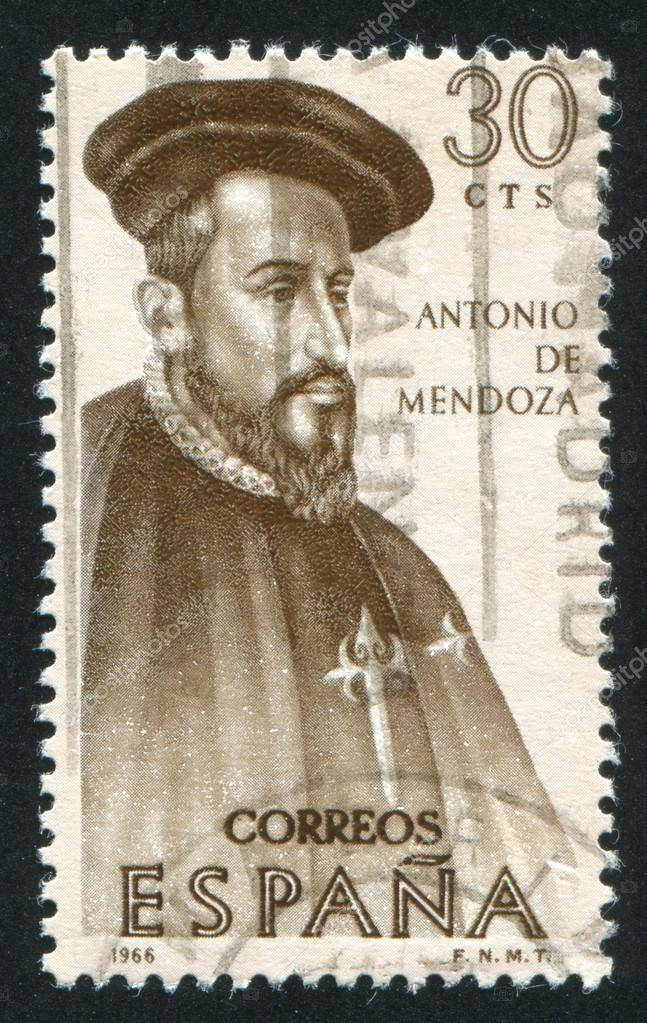 SPAIN - CIRCA 1966: stamp printed by Spain, shows Antonio de Mendoza, circa 1966 — Stock Photo #13827882
