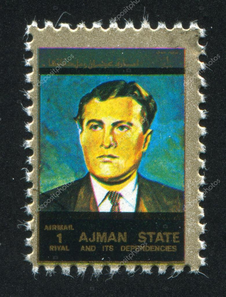 AJMAN - CIRCA 1976: stamp printed by Ajman, shows a Man, circa 1976 — Stock Photo #14334447