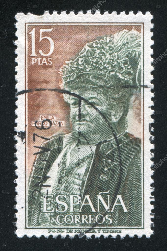 SPAIN - CIRCA 1972: stamp printed by Spain, shows portrait of Emilia Pardo Bazan, circa 1972 — Stock Photo #14335309