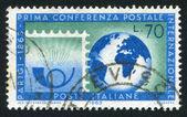 Globe and stamp — Stock Photo
