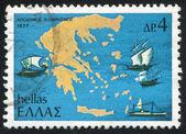Mapa řecka a lodí — Stock fotografie