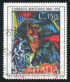 Woman at table by Umberto Boccioni — Stock Photo