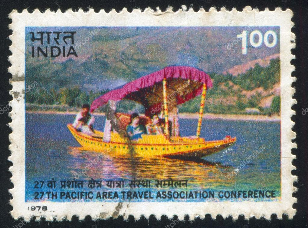 INDIA - CIRCA 1978: stamp printed by India, shows Tourists in Shikara on Dal Lake, circa 1978  Stock Photo #15272983