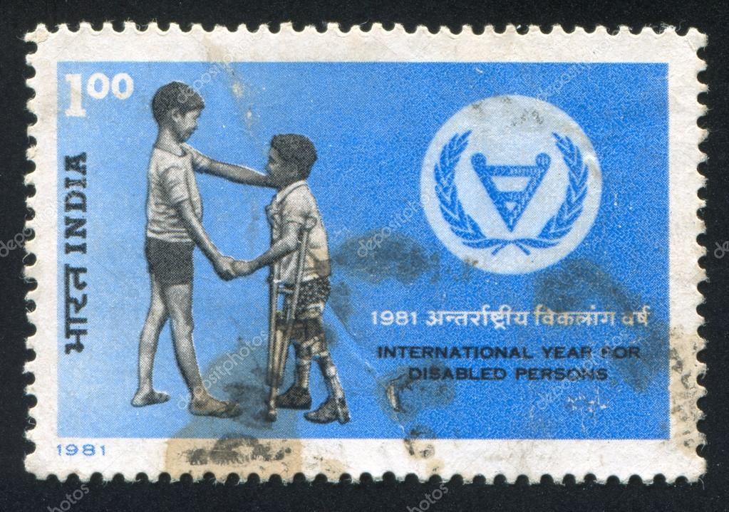 INDIA - CIRCA 1981: stamp printed by India, shows two boys, circa 1981  Stock Photo #16252803