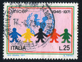 UNICEF emblem and children — Zdjęcie stockowe