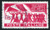 Marchers with Italian flag — Stock Photo