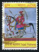 Tejaji Maharaj on a horse — 图库照片