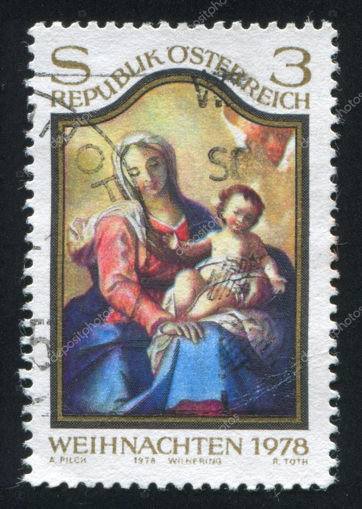AUSTRIA - CIRCA 1978: stamp printed by Austria, shows Virgin and Child picture, circa 1978  Stock Photo #19073449