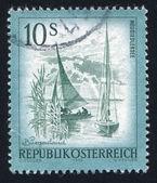 Sailing vessel on Lake Neusiedl — Stock Photo