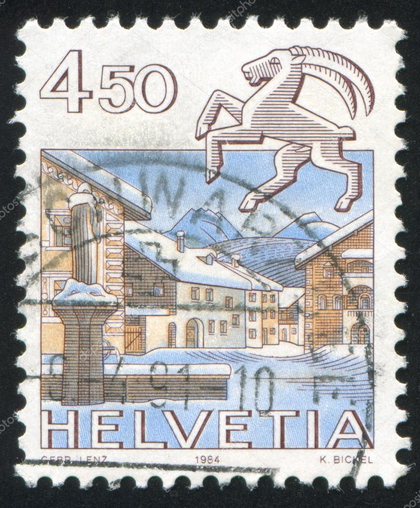 SWITZERLAND - CIRCA 1984: stamp printed by Switzerland, shows Capricorn, Schuls, circa 1984 — Stock Photo #19708957