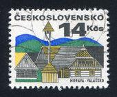 Dom i przydrożnych dzwon stoiska — Zdjęcie stockowe