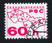 Map of Czechoslovakia with postal code numbers — Stockfoto