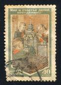 Pioniers en het model van de universiteit van de moskou van de lomonosov — Stockfoto