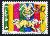 Clowns on trapeze — Stock Photo
