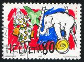 Clown and elephant — Stock Photo
