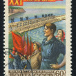 Workers and Lenin power plant on Volga — Stock Photo