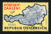 Map of Austria with postal zone numbers — Stock Photo