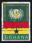 UN Emblem and Ghana flag — Stock Photo