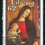 detail van madonna met kind omgeven door vijf heiligen door raphae — Stockfoto