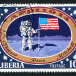 Astronaut with US flag on Moon — Stock Photo