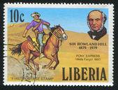 Rowland Hill and Pony express rider — Stock Photo