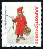 Girl in red coat — Stock fotografie