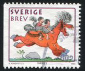 Boy and girl on horse by Bertil Almqvist — Stock Photo