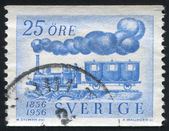 First Swedish locomotive and passenger car — Stock Photo