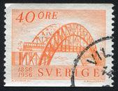 First Swedish locomotive and passenger car — Stock Photo
