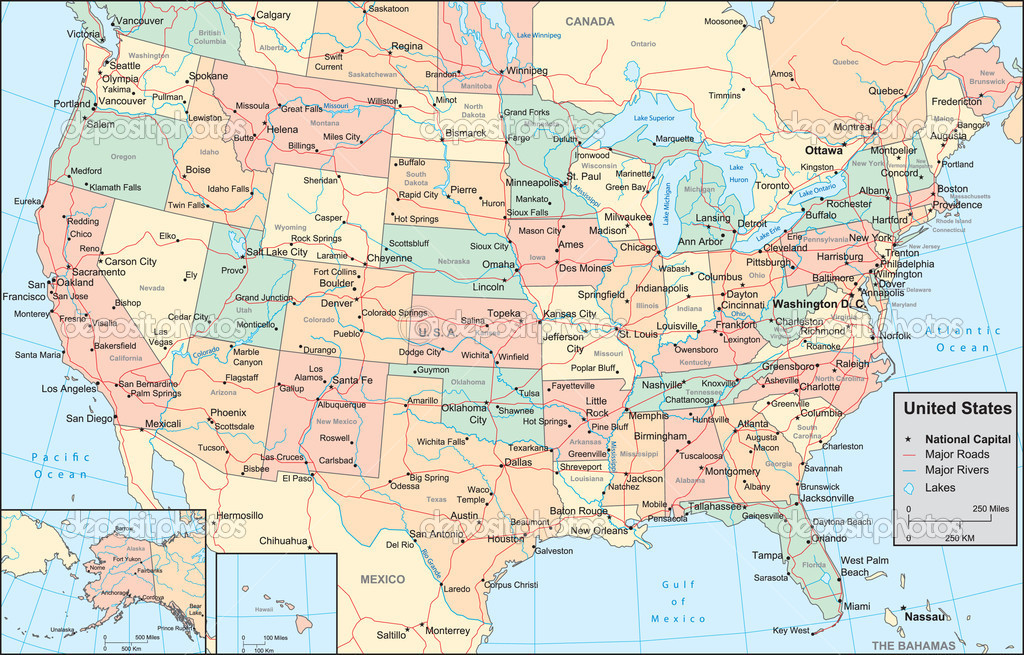 Us Maps With States And Cities Printable