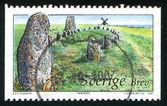 Megaliths ve yel değirmeni oland moorland içinde — Stok fotoğraf