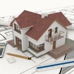 3D building with blueprint plans — Stock Photo #34693035