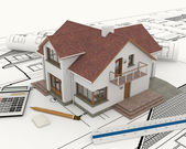 3D building with blueprint plans — Stock Photo