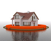 Building in flood on white backround — Stock Photo