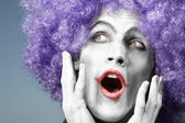 Crazy clown singing — Stock Photo