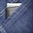 Wallet in jeans — Stock Photo