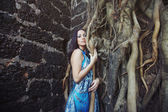 Woman at old banyan — Stock Photo