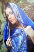 Blå sari — Stockfoto