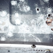 Man behind broken glass — Stock Photo #20031475
