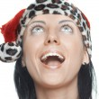 Stock Photo: Female Santlaughing