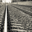 Detail of Railway railroad tracks for trains — Stock Photo #13535363