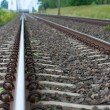 Detail of Railway railroad tracks for trains — Stock Photo