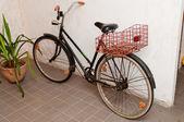 Ancien vélo rétro adossée au mur — Photo