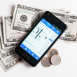 Forex trading by mobile phone — Stock Photo