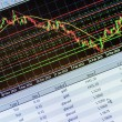 Data analyzing in forex market: the charts and quotes on display — Stock Photo