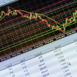 Data analyzing in forex market: the charts and quotes on display — Foto Stock