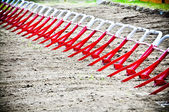 Empty starting gates before start at motocross ride — Stock Photo