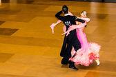 Competitors dancing slow waltz on the dance conquest — ストック写真