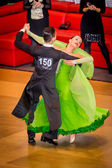 Competitors dancing slow waltz on the dance conquest — Stock Photo